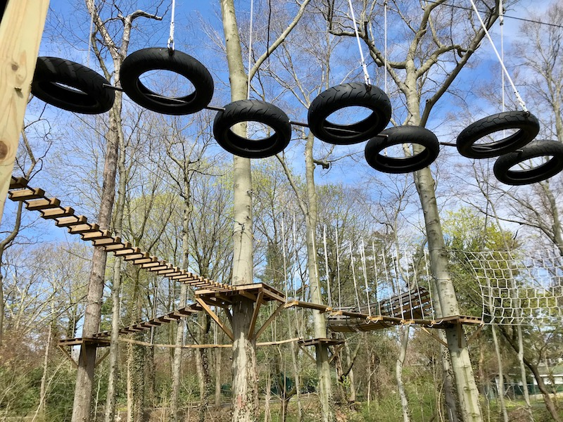 High ropes course tires and bridge